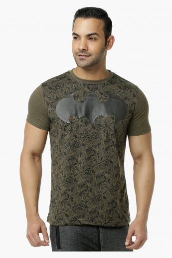 Batman Printed Crew Neck T-Shirt with Short Sleeves