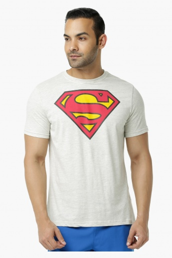 Super Man Printed Crew Neck T-Shirt with Short Sleeves