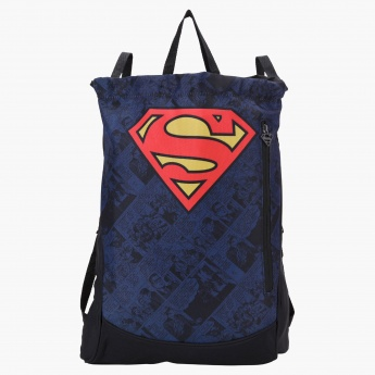 Superman Printed Drawstring Backpack