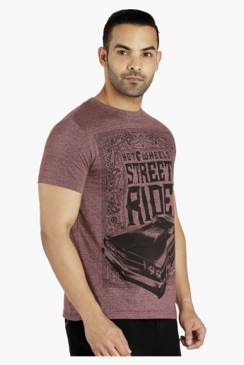 Hot Wheels Printed T-Shirt with Short Sleeves