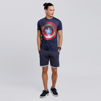 Captain America Printed T-Shirt with Round Neck and Short Sleeves
