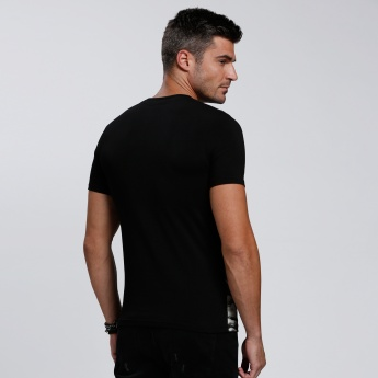The Rock Printed T-Shirt with Round Neck and Short Sleeves