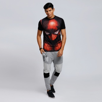 Spider-Man Printed Crew Neck T-Shirt with Short Sleeves