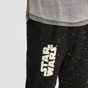 Star Wars Printed Full Length Jog Pants with Cuffs