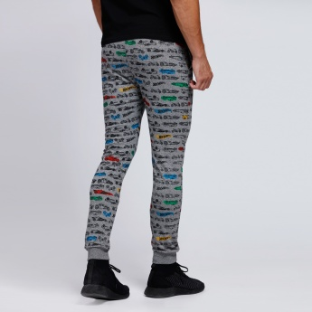Hot Wheels Printed Joggers with Elasticised Waistband