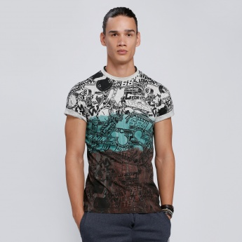 Hot Wheels Print T-Shirt with Round Neck and Short Sleeves