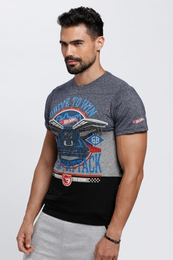 Hot Wheels Printed T-Shirt with Round Neck and Short Sleeves