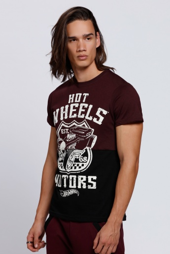Hot Wheels Printed T-Shirt with Crew Neck and Short Sleeves