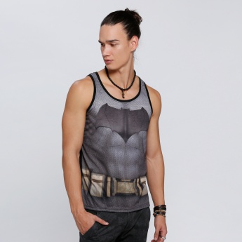Batman Print Sleeveless T-Shirt with Round Neck
