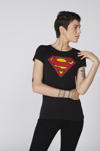 e28d61f2f92fa7 Superman Printed T-Shirt with Round Neck and Short Sleeves | Black
