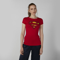 Superman Printed T-shirt in Skinny Fit with Cap Sleeves
