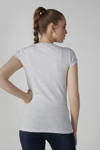 Sustainability Printed T-shirt in Skinny Fit with Cap Sleeves