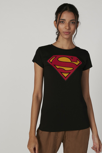 Sustainability Skinny Fit Superman Printed T-shirt with Cap Sleeves