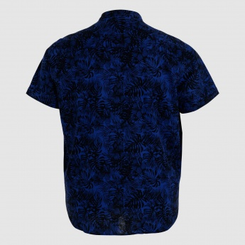 Printed Shirt with Mandarin Collar and Short Sleeves