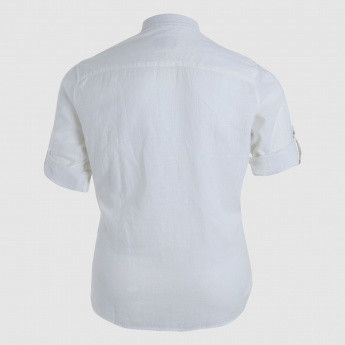 Short Sleeves Shirt with Mandarin Collar