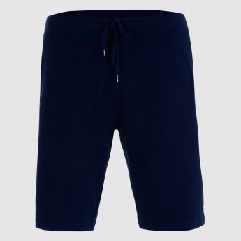 Shorts with Ribbed Waistband and Drawstring