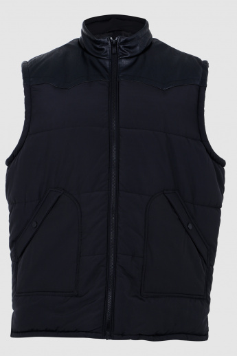 Quilted Sleeveless Jacket with Zipper