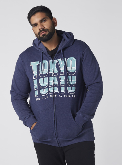 f10cb321331f Printed Jacket with Long Sleeves and Hood | Blue
