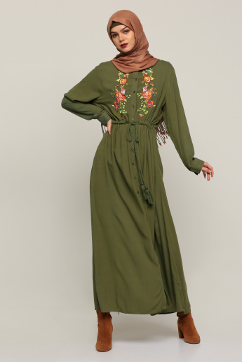 75cc9ca27bdf Embroidered Maxi Shirt Dress with Long Sleeves