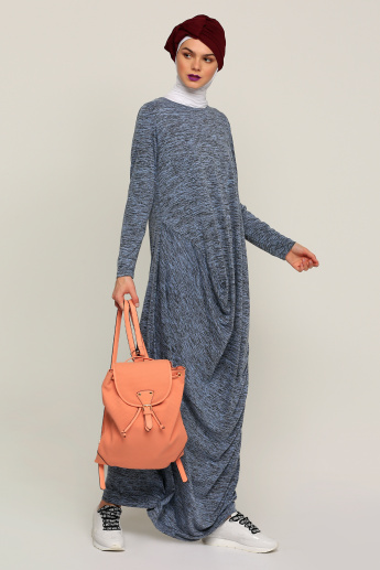 Printed Maxi Dress with Batwing Sleeves