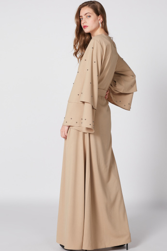 Studded Abaya with Long Sleeves and Bow Detail