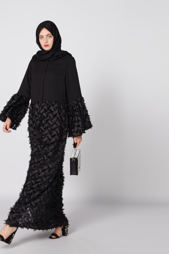 Textured Abaya with Round Neck and Flared Sleeves