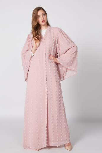 Textured Abaya with Long Flared Sleeves