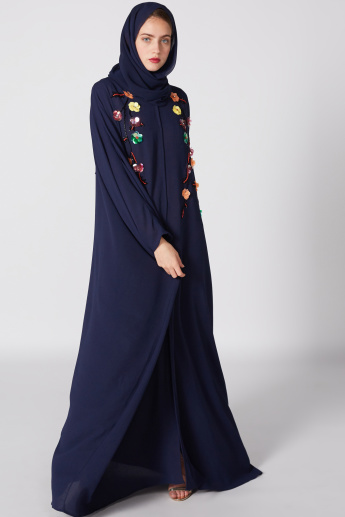 fc9c8049dc669 Flower Detail Abaya with Long Sleeves