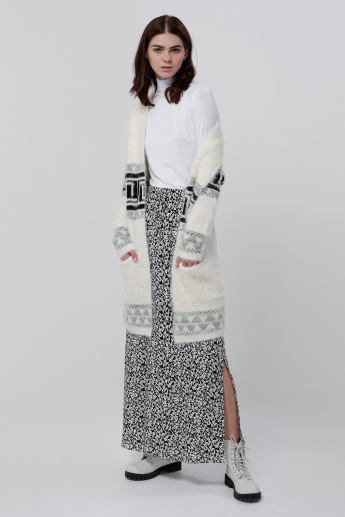 Printed Maxi Skirt with Side Slit