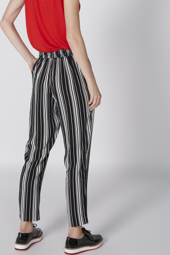 Striped Full Length Pants with Elasticised Waistband and Pocket Detail