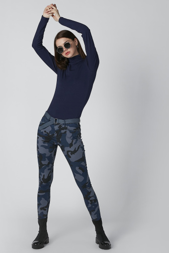 Camouflage Printed Pants with Pocket Detail