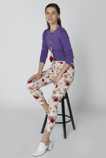 Floral Printed Trousers with Slits