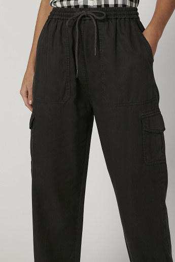 Solid Cuffed Jogger with Drawstring Closure
