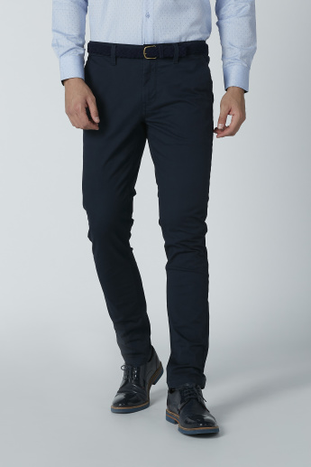 Full Length Plain Chinos with Belt Loops and Pocket Detail