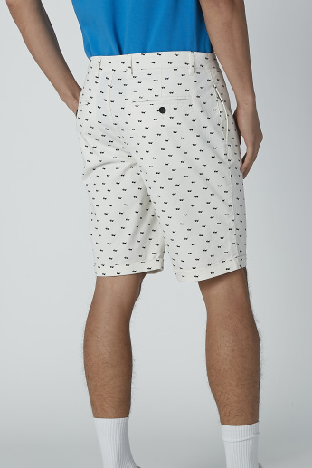 Printed Shorts with Pocket Detail and Belt Loops
