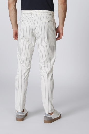 Slim Fit Mid-Rise Striped Chinos with Side Pockets