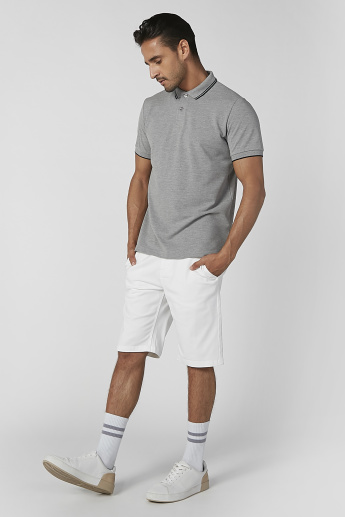 Slim Fit Sustainability Plain Mid Waist Shorts with Pocket Detail