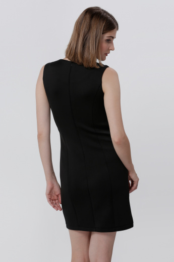 Round Neck Sleeveless Dress with Metal Detail