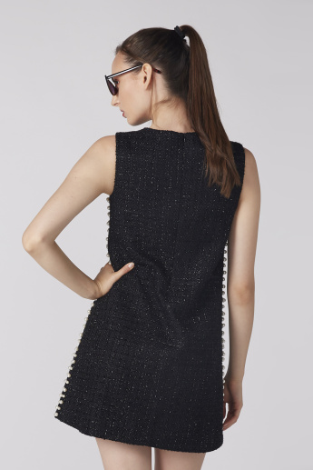 Embellished Sleeveless Dress with Round Neck and Glitter Detail